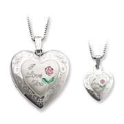 925 Sterling Silver Rose I Love You Heart Locket and Pendant Necklace Jewelry Gifts for Women