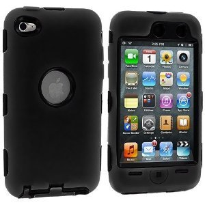 Dual Flex Hard Hybrid Gel Case for Apple iPod Touch 4th Gen - Black/Black
