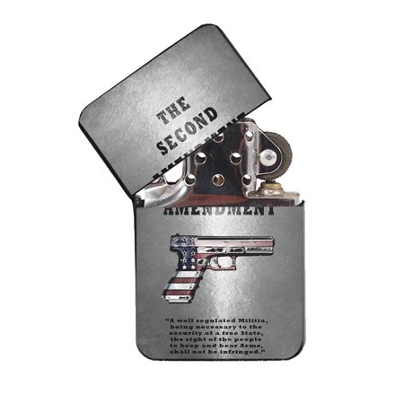 KuzmarK Black Windproof Flip Top Lighter -  Second Amendment American Flag (American Lighter)