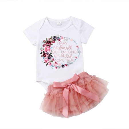 2PCS Newborn Baby Girls Birthday Outfit Short Sleeve Floral Letter Romper + Tulle Tutu Skirt Dress Clothes Set](Baby Girl First Birthday Outfits)