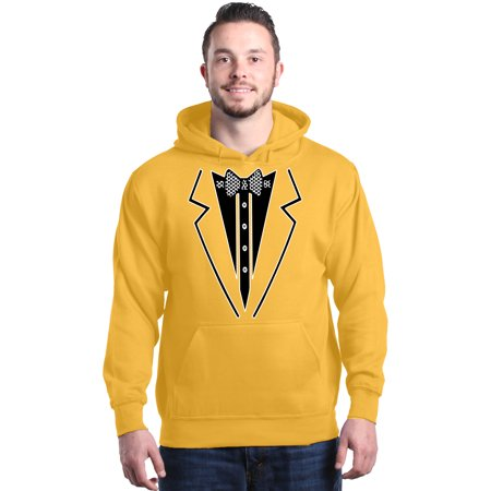 Shop4Ever Men's Black Bow Tie Tuxedo Suit Party Costume Hooded Sweatshirt Hoodie