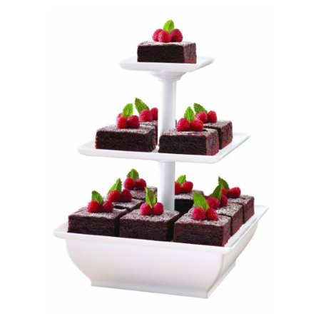 Snack Server 3-Tower Tiered Stand for Cakes Food Display Appetizers Sandwich (Petite Fleur Sandwich Tray)