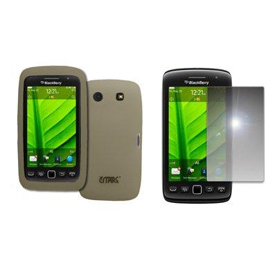 EMPIRE Smoke Silicone Skin Case Cover + Mirror Screen Protector for BlackBerry Torch 9850 ()