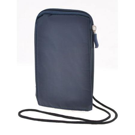 Unique Bargains Male Dark Blue Zipper Closure 2 Compartments Belt Bag Waist Pack w (Navy Blue Strap)