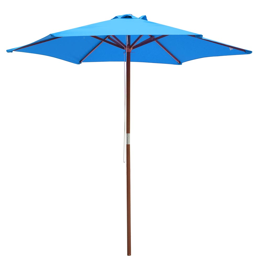 8ft Blue Cover Outdoor Patio Wooden Table Umbrella Market Garden Yard Beach Deck Cafe Decor Sunshade
