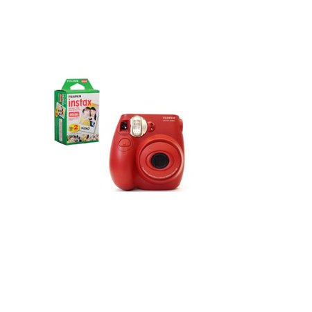 Fuji Film Instax Mini 7S Instant Camera with Fuji Film Mini Film 10pk Value Bundle (red)
