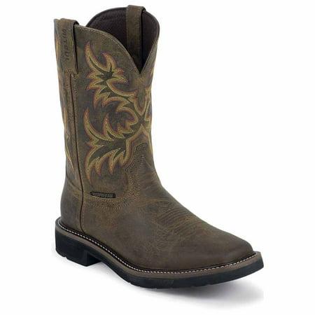 Justin Original Work Rugged Tan Cowhide Waterproof Steel Toe Justin Ladies Rustic Cowhide