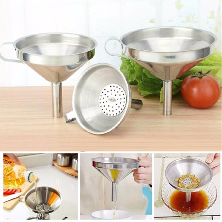 Crystal Wine Funnel - Stainless Steel Funnels for Transferring of Liquid Dry Ingredients Spices Essentail Oil Flask Funnel Metal Cooking Funnel