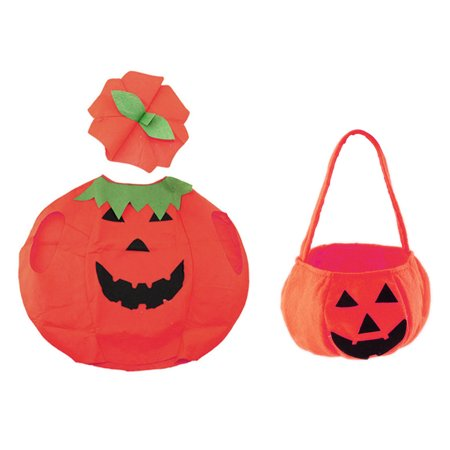 Halloween Pumpkin Costume Suit Outfit Dress Up Clothes With Bag for Kid Photo Booth Prop - Halloween Pumpkin Outfit