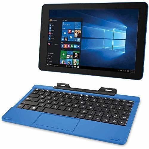"RCA Cambio 10.1"" 2-in-1 Tablet 32GB Intel Quad Core Windows 10 Blue Touchscreen Laptop Computer with Bluetooth and WIFI"