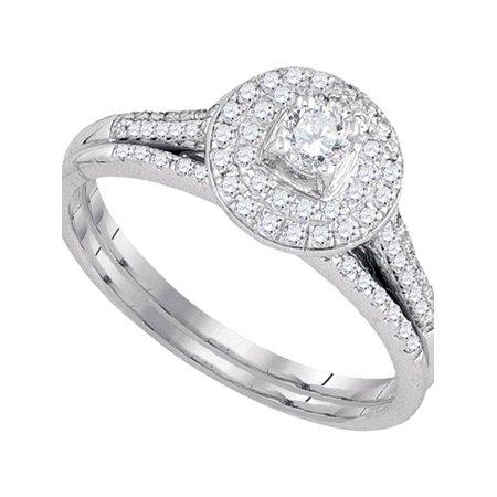 14kt White Gold Womens Round Diamond Halo Bridal Wedding Engagement Ring Band Set 1/2 Cttw - image 1 of 1