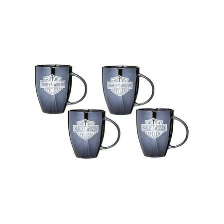 Harley Davidson Shot Mug (Harley-Davidson Bar & Shield Ceramic Coffee Mug, 18 oz Black - Set of 4, Harley)