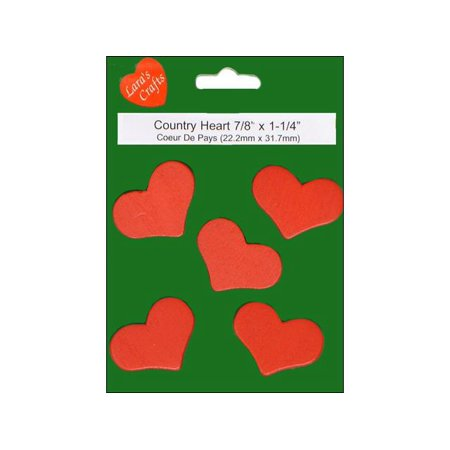 Lara's Wood Painted Pkg Country Heart 1.25