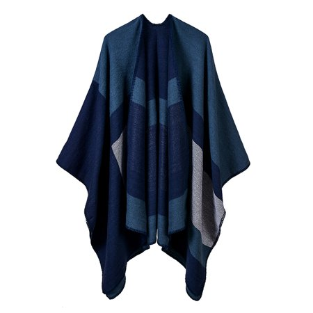 - Women Poncho Cardigan Sweater Contrast Color Geometric Plaid Striped Cashmere Capes Shawl Scarf Outerwear