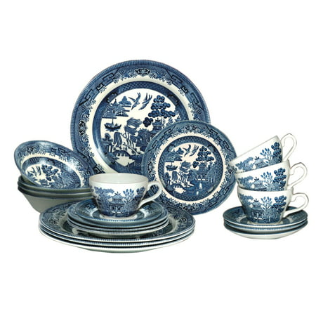 Churchill Blue Willow Plates Bowls Cups 20 Piece Dinner Set, Made In England