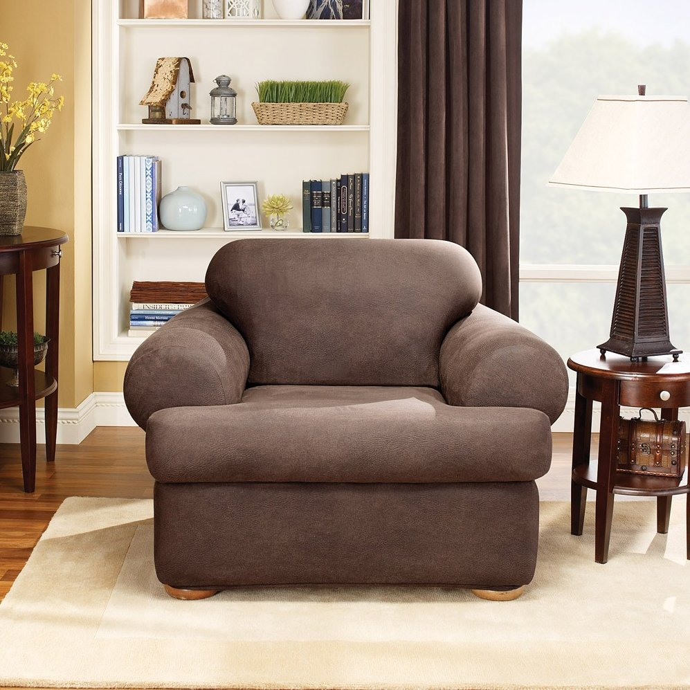 Sure Fit Stretch Leather 2 Piece T Cushion Chair Slipcover, Brown Image 2