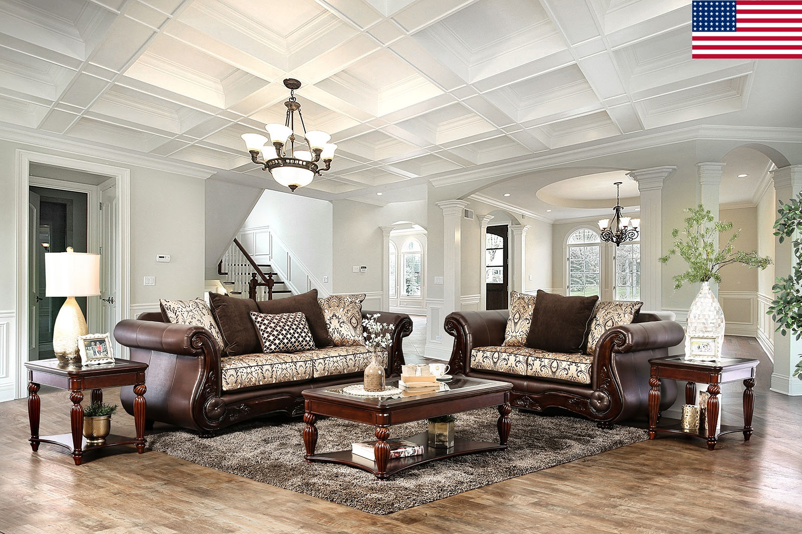 Formal Traditional Living Room Furniture 2pc Sofa Set Sofa Love Seat Brown  Rolled Arms Comfort