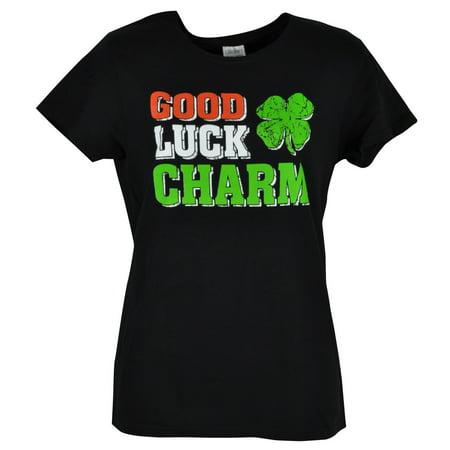Good Luck Charm Shamrock Womens Ladies Tshirt Black Green Irish Tee Lucky XLarge ()