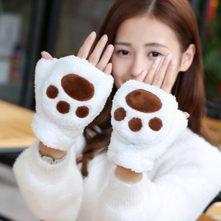 Women Cat Claw Paw Winter Soft Plush Cotton Half Finger Foldable Warm Gloves - Cat Paw Gloves
