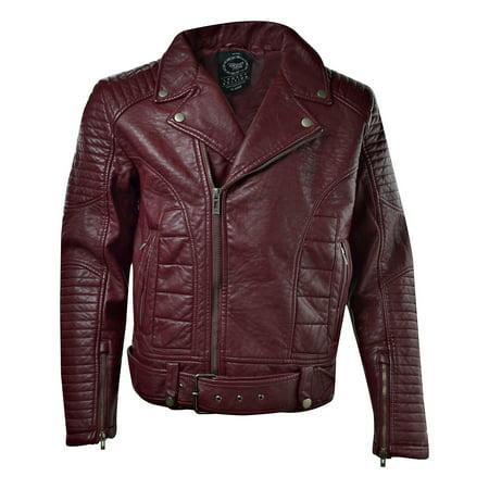 Jordan Craig Hammered Pu Leather Men's Moto Jacket Wine