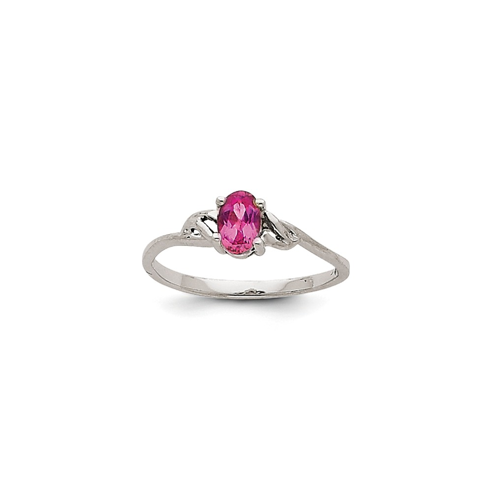 14K White Gold Pink Tourmaline Birth Month Ring Size-7 by