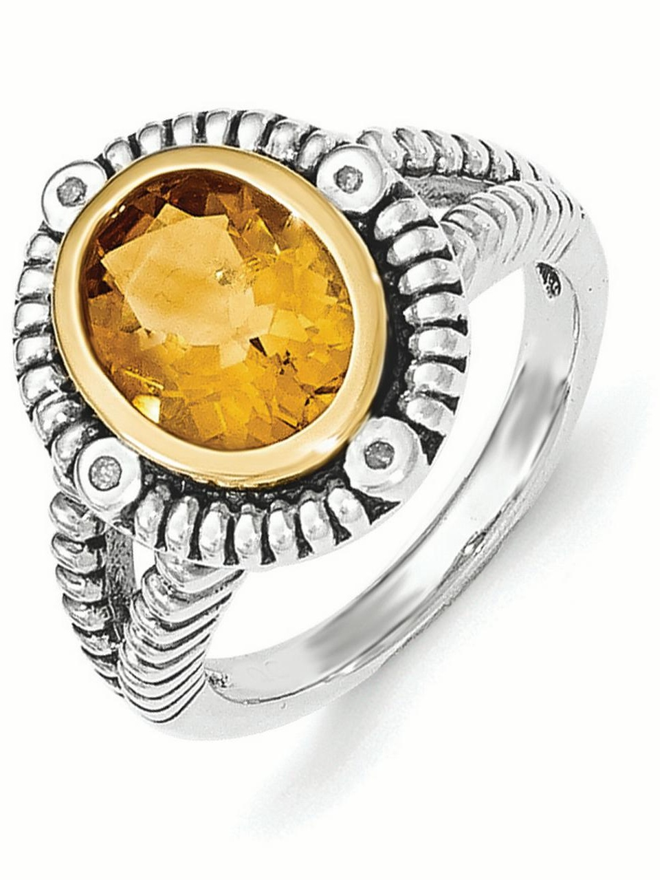 Sterling Silver w 14k Gold Citrine w Diamond Ring by