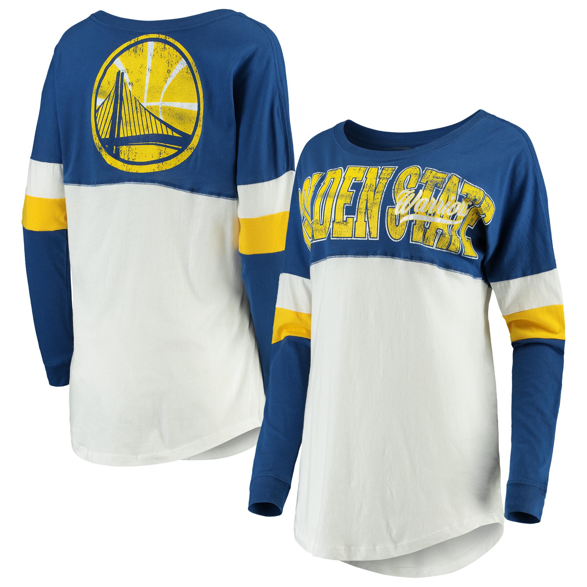 Golden State Warriors New Era Women's Baby Jersey Contrast Long Sleeve Crew Neck T-Shirt - White/Royal