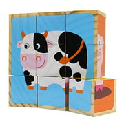 Professor Poplar's Barnyard Animals Stacking Wood Puzzle Blocks