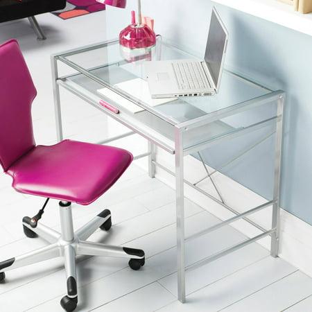 Mainstays Versatile Modern Glass-Top Desk, Multiple Colors ()