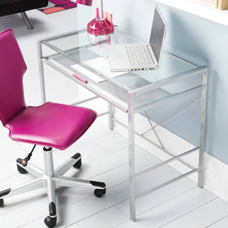 Mainstays Versatile Modern Glass-Top Desk, Multiple Colors 3 Piece Glass Desk