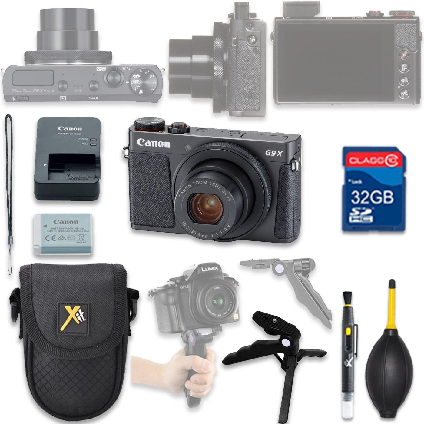 Canon PowerShot G9 X Mark II Digital Camera(Black) with 32GB SD Memory Card + Accessory Bundle
