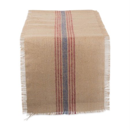 DII French Blue / Barn Red Middle Stripe Burlap Table Runner ()