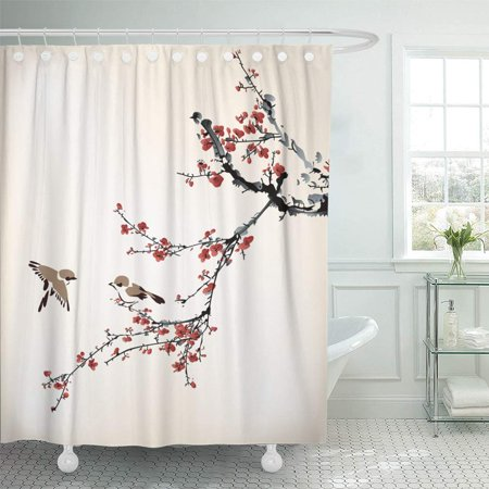 (PKNMT Pink Blossom Birds and Winter Sweet Chinese Tree Branch Japanese Drawing Plum Flower Bathroom Shower Curtain 66x72 inch)