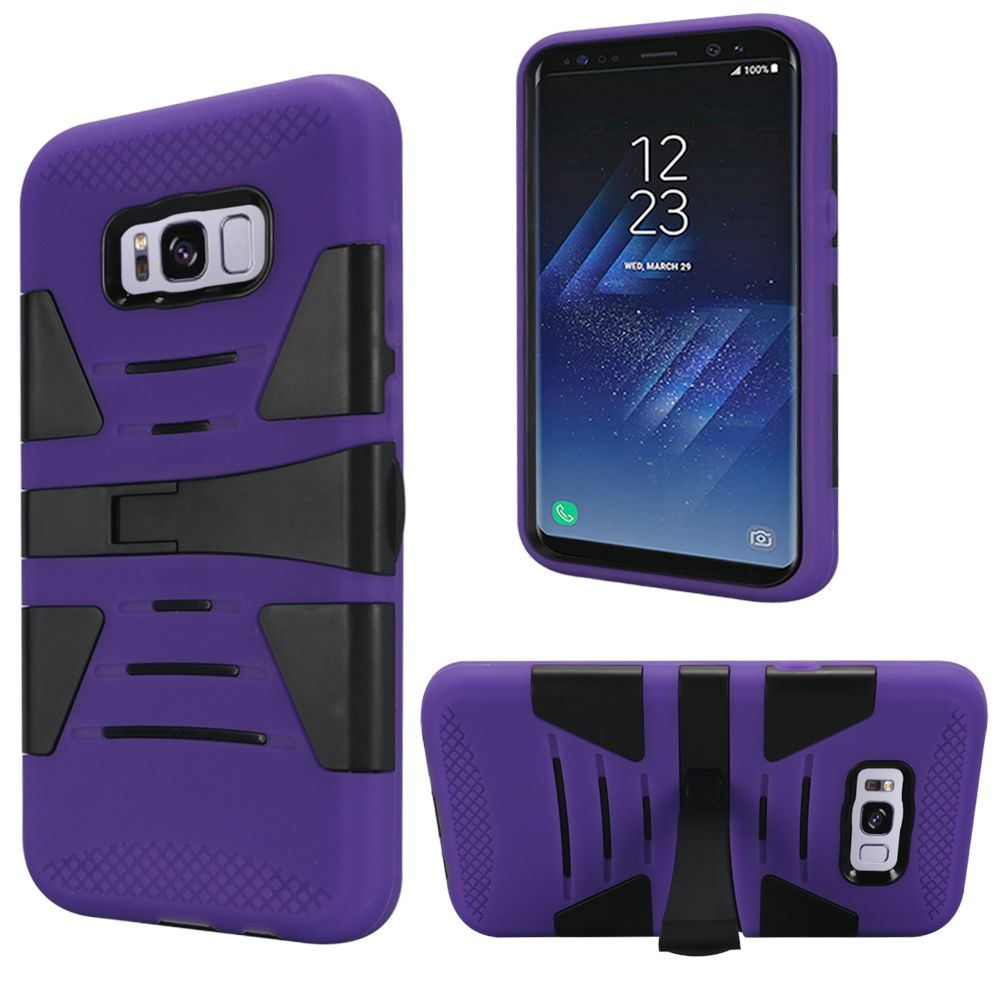 For Samsung S8 Hybrid U Kickstand Case - Black(PC)+Purple(Silicone)