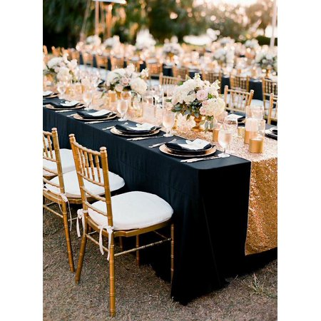 Efavormart 90x156 Black Rectangle 250gsm Polyester Tablecloth