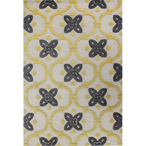 Alcott Hill Nolan Hand-Tufted Ivory/Gold Area Rug