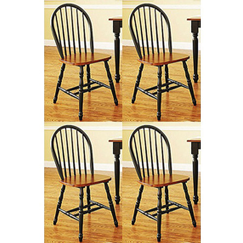 Better Homes and Gardens Autumn Lane Windsor Chairs, Set of 4, Black and Oak