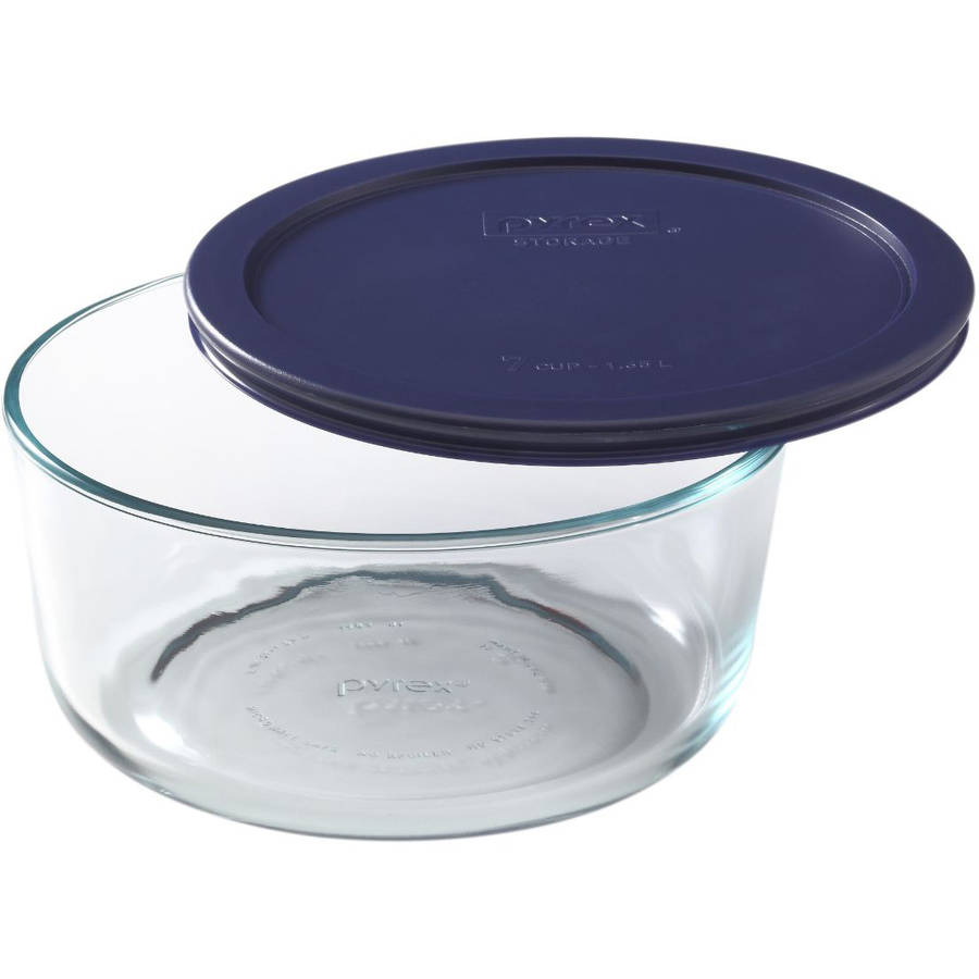 Pyrex Storage 7-Cup Round Unit with Dark Blue Plastic Cover