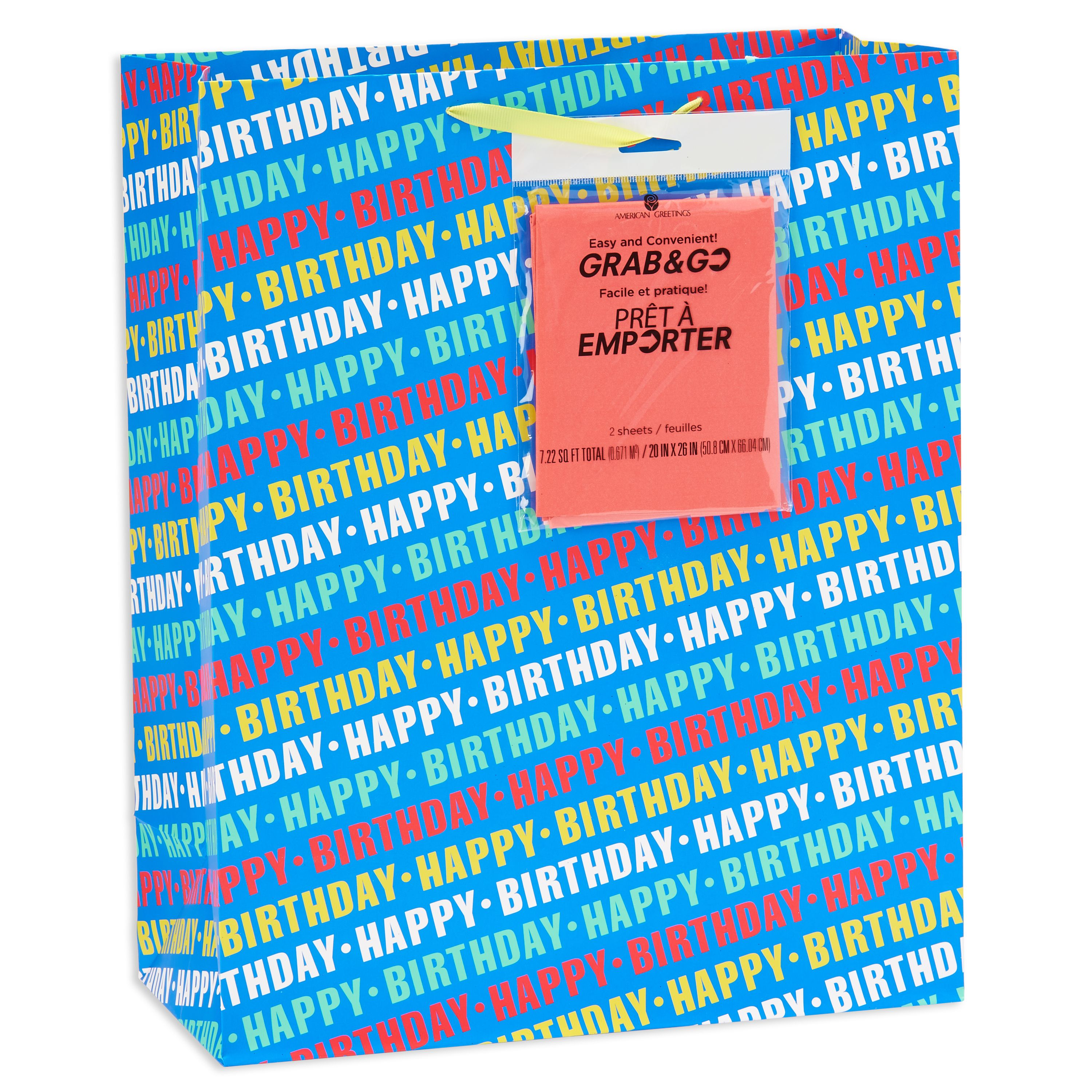 American Greetings Extra-Large Happy Birthday Blue Grab-&-Go Gift Bag