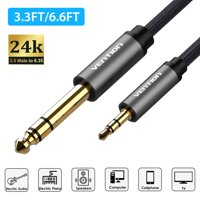 """3.5 to 6.35 Cable, EEEkit Gold-Plated 3.5mm 1/8"""" Male TRS to 6.35mm 1/4"""" Male TRS Stereo Audio Cable with Nylon Braid for Guitar, Piano, Amplifiers, Home Theater Devices, 3.3FT/6.6FT"""