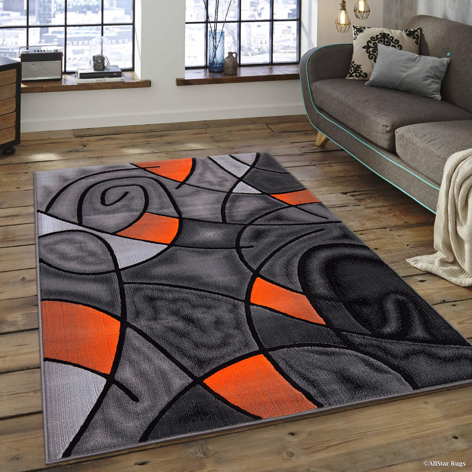 "AllStar Orange Hand Made Modern. Transitional. Floral. design Area Rug with Dimensional hand-carving highlights (7' 10"" x 10')"