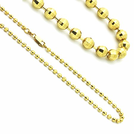 14K Yellow Gold Shiny Cut Bead Chain Necklaces Width 3mm (Yellow Bead Necklace)
