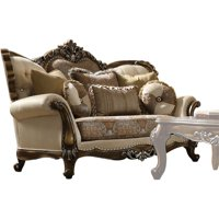 ACME 52116 Latisha Loveseat with 5 Pillows, Tan, Pattern Fabric & Antique Oak - 48 x 75 x 40 in.