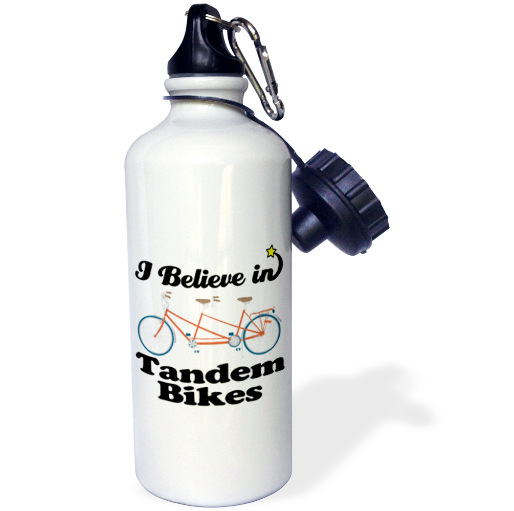 3dRose I Believe In Tandem Bikes, Sports Water Bottle, 21oz