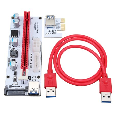 PCI-E Express 1x to16x Extender Riser Card Adapter + USB Connector 3.0 SATA Power Cable for Bitcoin 8 GPU