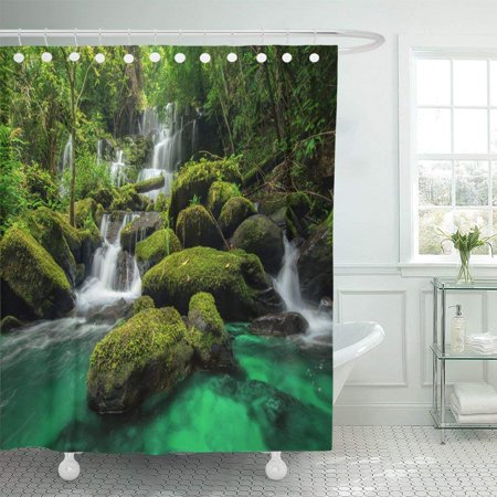 BPBOP Beautiful Waterfall in Green Forest Jungle at Phu Tub Berk Mountain Phetchabun Polyester Shower Curtain Bathroom Decor 66x72 inches