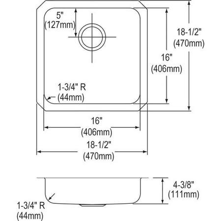 Elkay Lustertone Ada Sink Bowl (Elkay  Lustertone Stainless Steel 18-1/2