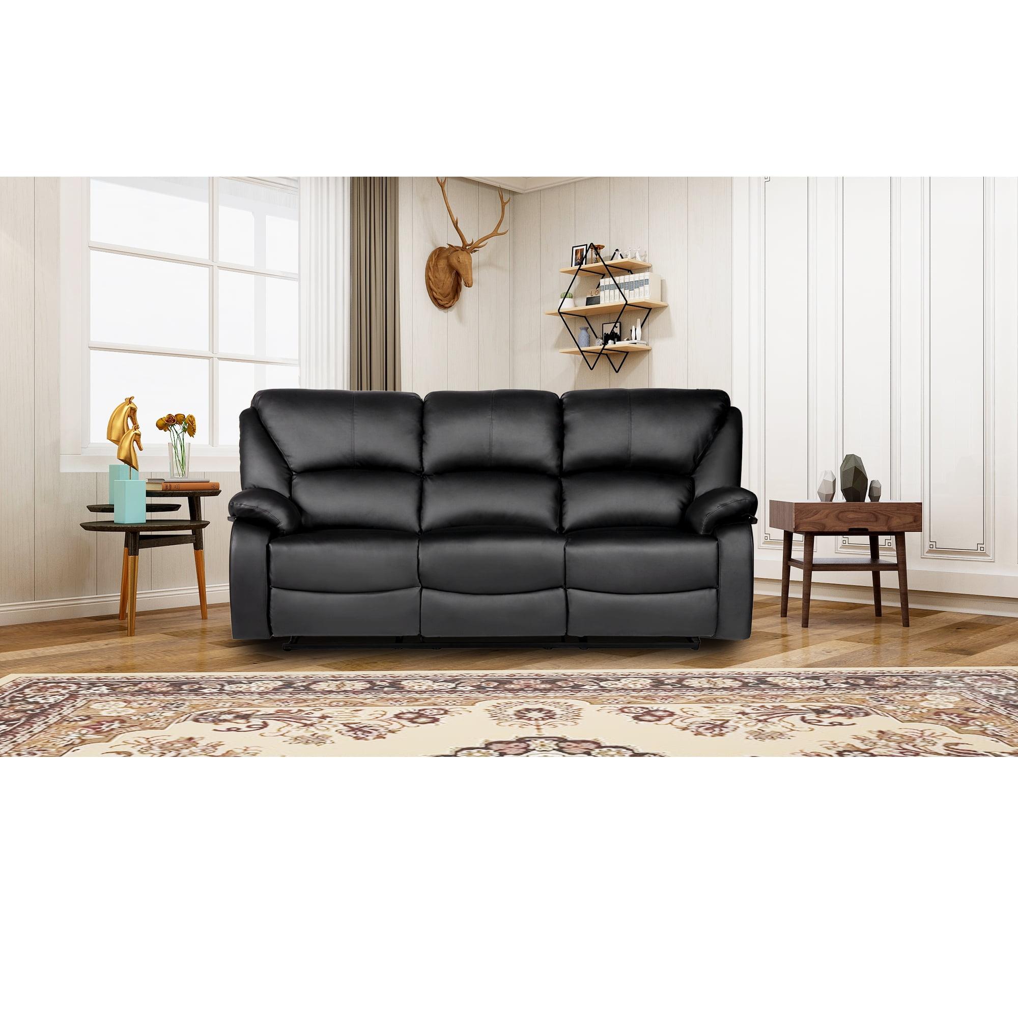 Harper & Bright Designs Home Theater Recliner PU Leather Reclining Sofa (Black)