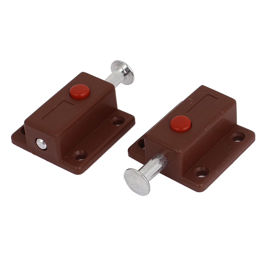 Window Cabinet Push Button Spring Load Automatic Door Bolt Latches Lock 2pcs