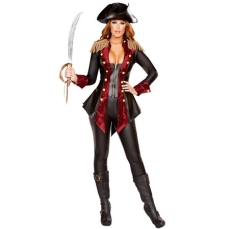 Adventurous Pirate Babe Costume Roma Costumes 4648 Black/Burgundy - Pirate Babes